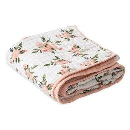 Little Unicorn Quilt 100% Cotton Muslin - Watercolour Roses