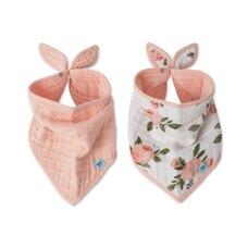 Little Unicorn Bandana Drool Bib 100% Cotton Muslin Watercolour Roses 2-Pack