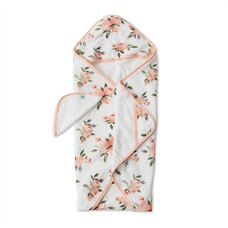 Little Unicorn Hooded Towel and Washcloth 100% Cotton Watercolour Roses