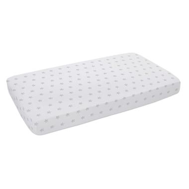 Lolli Living Fitted Crib Sheet 100% Cotton Muslin Star Grey