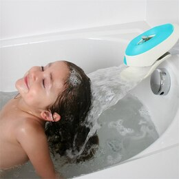 boon flo water deflector faucet cover with bubble bath dispenser blue by boon baby bath tubs. Black Bedroom Furniture Sets. Home Design Ideas
