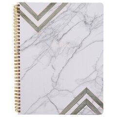 Large Spiral Notebook Marble Geo White