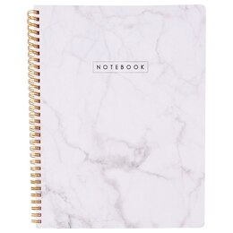Large Spiral Journal - Marble, White
