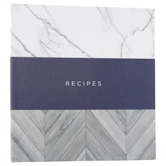 Small Recipe Binder - Trio Marble Navy Wood