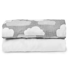 Skip Hop® Expanding Travel Crib Sheet Clouds/White Set of 2