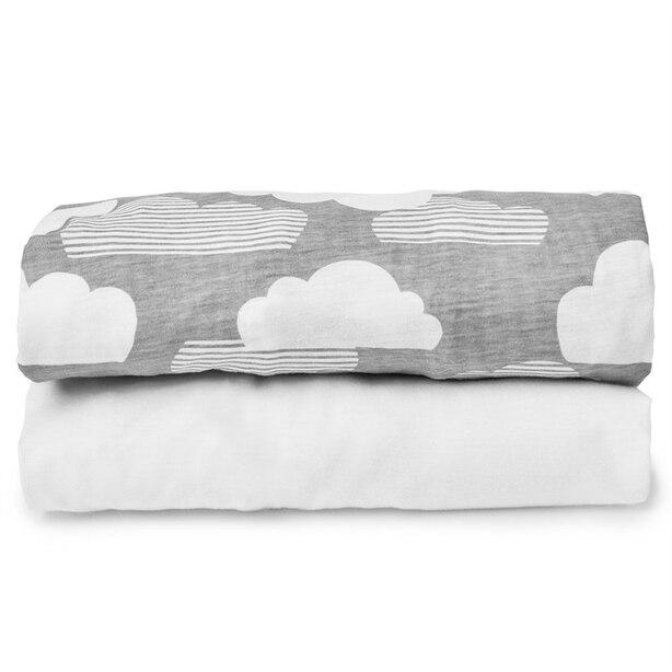Draps pour lit de bébé pliable nuages/blancs — ensemble de 2
