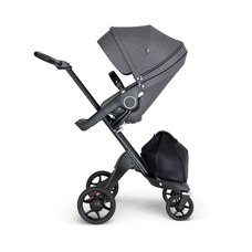 Stokke® Xplory® Black Chassis and Black Melange Stroller Seat and Black Handle