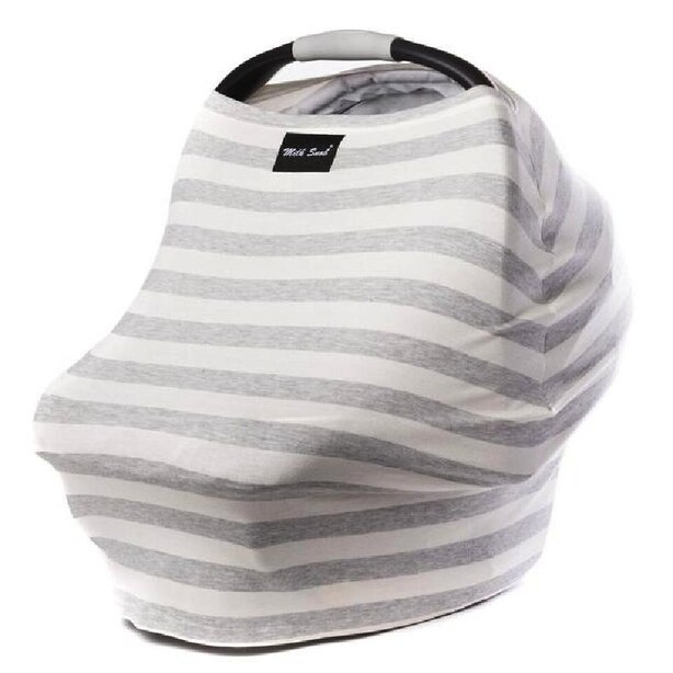 MILK SNOB MULTI USE BABY CAR SEAT COVER CREAM AND GREY STRIPES