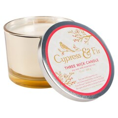 Olivina® 3 Wick Gold Candle - Cypress Fir