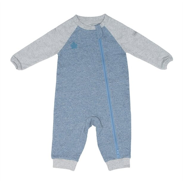 Juddlies Raglan Collection Baby Toddler Organic Cotton Playsuit Sleeper 2-Way Zipper Newborn 0-10Ibs - Denim Blue