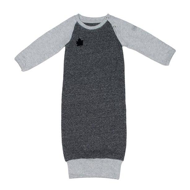 Juddlies™ Baby Raglan Nightie Organic Cotton Graphite Black 0 to 3 Months