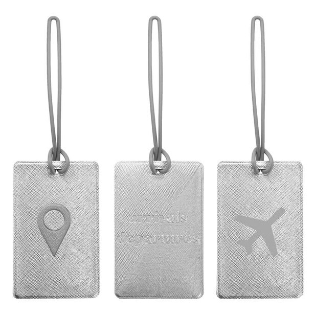 MY TAGALONGS ODYSSEY SET OF 3 LUGGAGE TAGS - SILVER