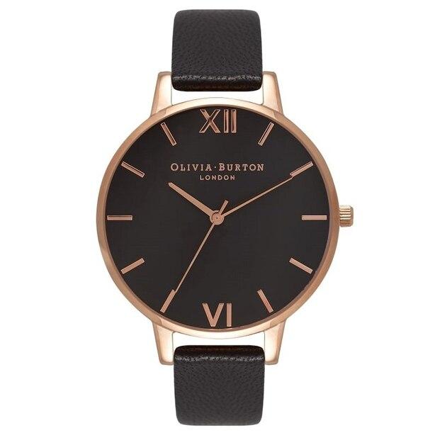 Olivia Burton Big Dial Black & Rose Gold Watch