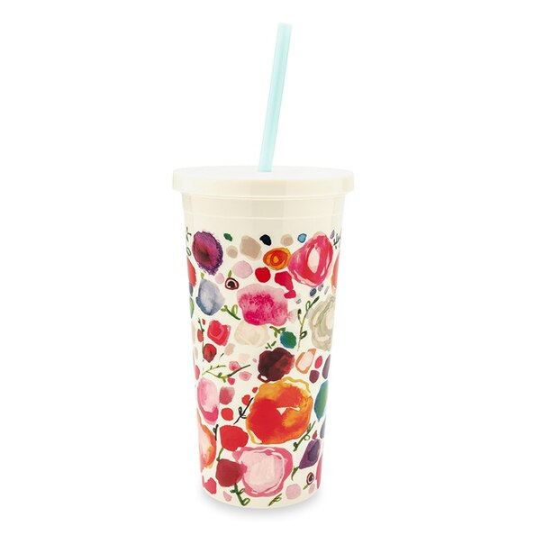 Kate Spade New York Tumbler With Straw, Floral