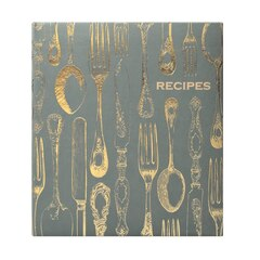Recipe Book - Vintage Utensils, Gold