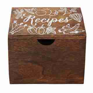 Boîte de recettes en bois