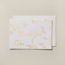Thank You Notes Gold Foil Leaves