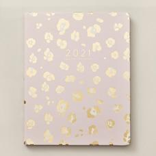 2020-2021 Agenda 17 mois,  léopard rose or