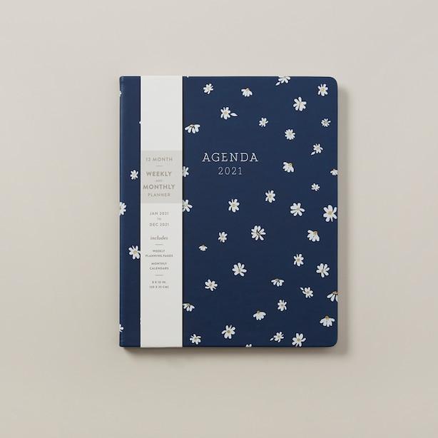 Agenda  –  Marguerite bleu marine 2021, 20x25 cm