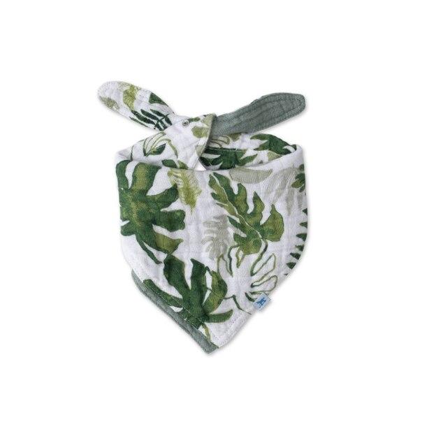 Little Unicorn Cotton Muslin Reversible Bandana Bib - Tropical Leaf