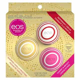 EOS HOLIDAY 3 PACK  - PEPPERMINT CREAM / WHIPPED FROSTING / CHERRY & BRIGHT
