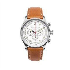 Nautical Chronograph Watch - Stainless Steel Case, White Dial, Tan Leather Strap