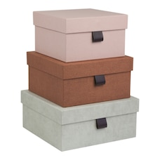 OUI X BIGSO TILLY NESTED STORAGE BOXES PINK ORANGE SET OF 3