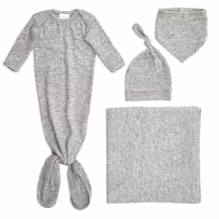 aden + anais Snuggle Knit Newborn Gift Set - Heather Grey