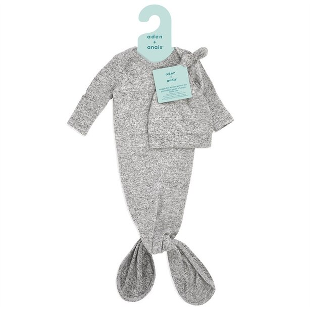 Snuggle Knit Gown and Hat Set - Heather Grey