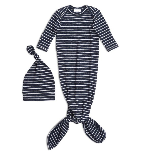 Snuggle Knit Gown and Hat Set - Navy Stripe