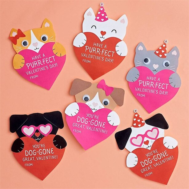 Valentine Cards Kit Puppies and Kittens Set of 24