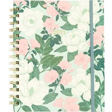 Waste Not Paper 2021 12 Month Weekly Magnolia Blossoms Spiral Planner
