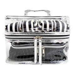 4 PIECE TRAVEL SET - BLACK & WHITE STRIPE