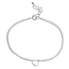 Friendship, Small Open Heart Chain Bracelet - Silver
