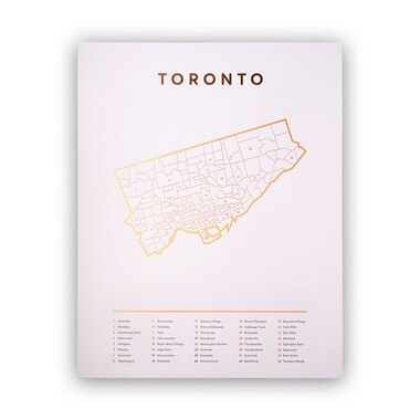 "TORONTO MAP ROSE GOLD ART PRINT - 11"" X 14"""