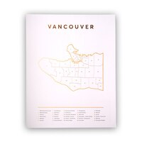 "VANCOUVER MAP ROSE GOLD ART PRINT - 11"" X 14"""