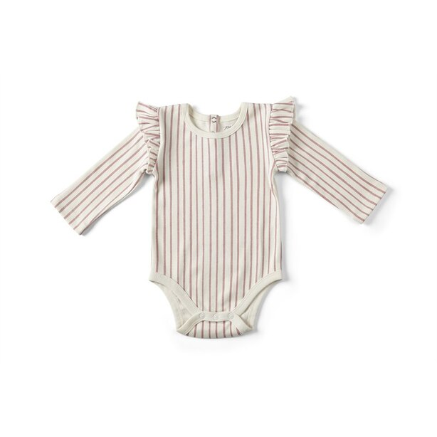 Pehr Stripes Away Ruffle One Piece Pink 6 - 12 Months