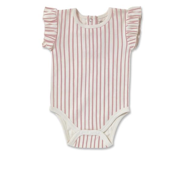Pehr Stripes Away Short Sleeve Ruffle One - Piece - Pink - 0 - 3 Months