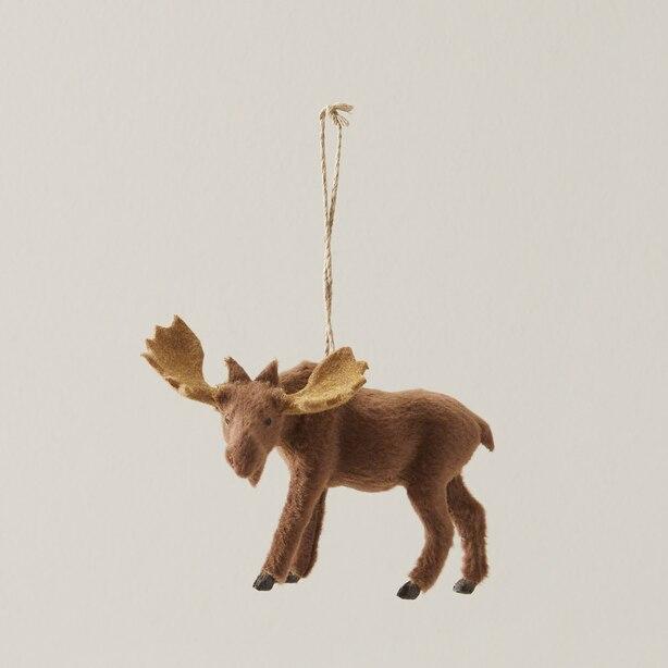 Glitterville® Faux Fur Moose Ornament