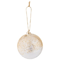 Speckle Ball Glass Ornament – Gold Leaf