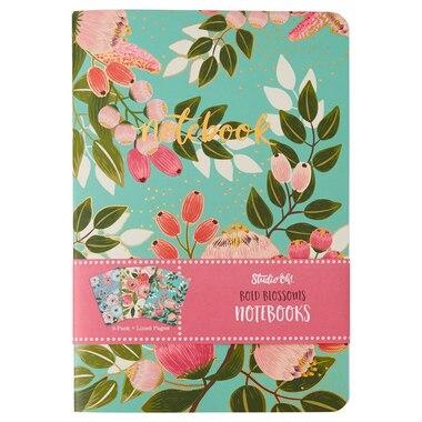 Set of 3 Notebooks - Floral Aqua