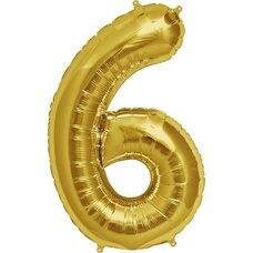 Chiffre gonflable à l'hélium de 32.5 po – 6, doré