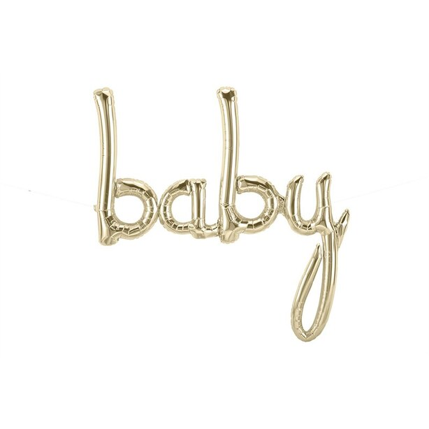 "Baby Script Balloon 31"" White Gold"