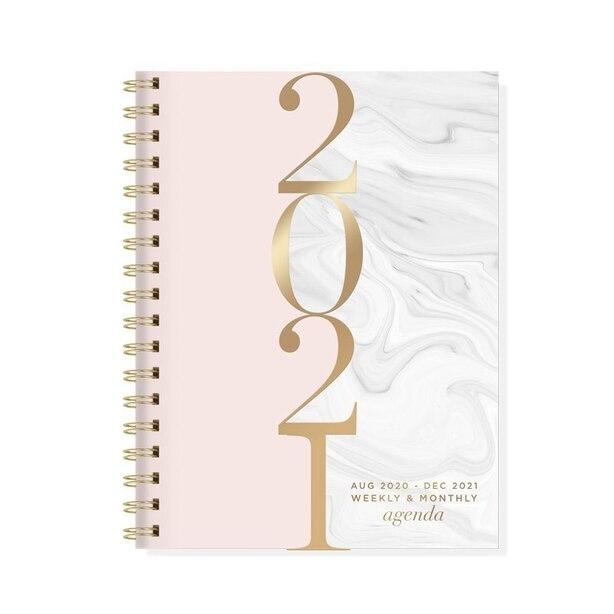 2020-2021 17-Month Spiral Agenda Marble Blush