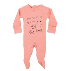 L'ovedbaby Organic Graphic Footie Coral Sending My L'ove Preemie-NB