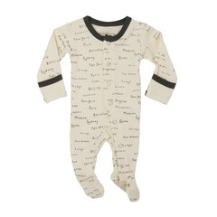 L'ovedbaby Organic Footed Overall Beige City Names Preemie-NB