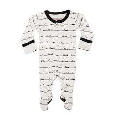 L'ovedbaby Organic Footed Overall White I Am L'oved Preemie-Newborn
