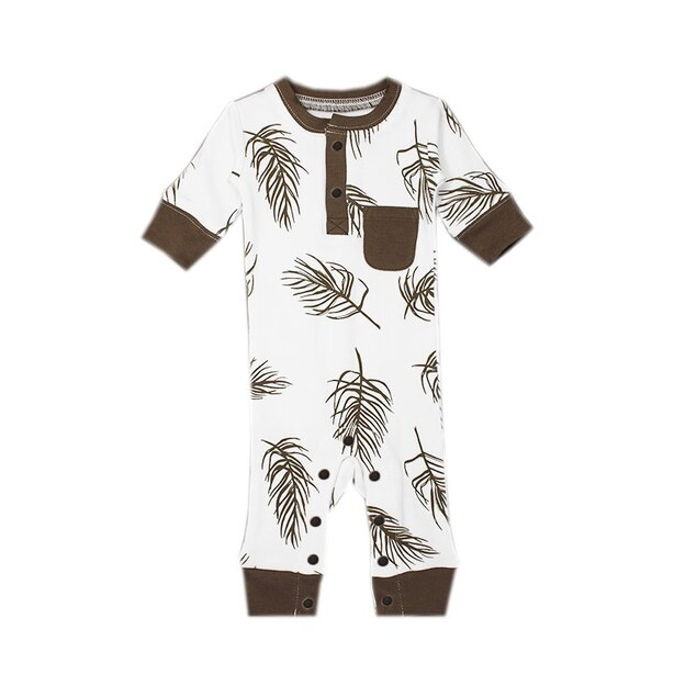 L'ovedbaby® Footless Romper Bark Palm 0-3 Months