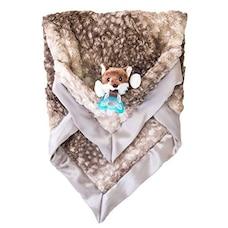 Luxie Pocket Plush Blanket with RaZbaby RaZ-Buddy JollyPop Pacifier - Fawn with Pepper Fox