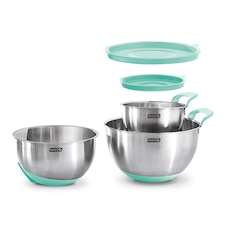 Dash Stainless Steel Mixing Bowls Aqua Set of 3